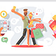 Couple Taking Selfie with Shopping Bags - GraphicRiver Item for Sale