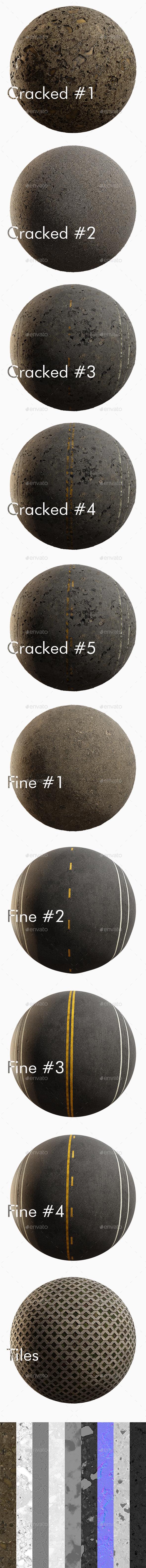 Asphalt 4K Texture set 10 items - 3DOcean Item for Sale