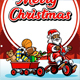 Santa Claus Ride Bicycle Greeting Christmas Illustration - GraphicRiver Item for Sale