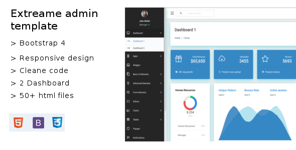 Extreame Bootstrap-4 Admin Dashboard Template Free Download | Nulled
