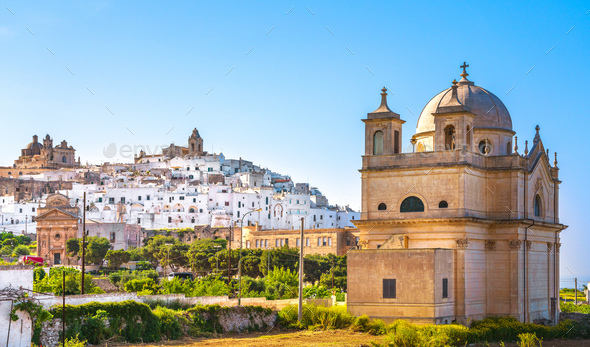 Ostuni white town skyline and church, Brindisi, Apulia, Italy. - Stock Photo - Images