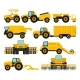 Flat Vecto Set of Yellow Agricultural Machinery - GraphicRiver Item for Sale