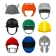 Flat Vector Set of 9 Helmets. Protective Headgear - GraphicRiver Item for Sale