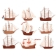 Flat Vector Set of Old Wooden Ships. Large Marine - GraphicRiver Item for Sale
