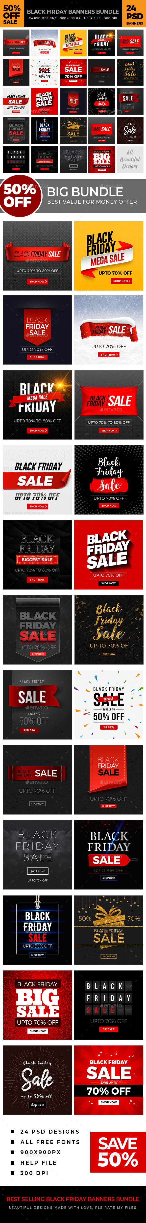 Black Friday Banners Bundle - Banners & Ads Web Elements