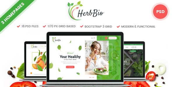 HerbBio - Vegetarianism & Nutritionist PSD Template - Health & Beauty Retail