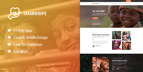 Charihope | Charity and Donate PSD Template - Charity Nonprofit