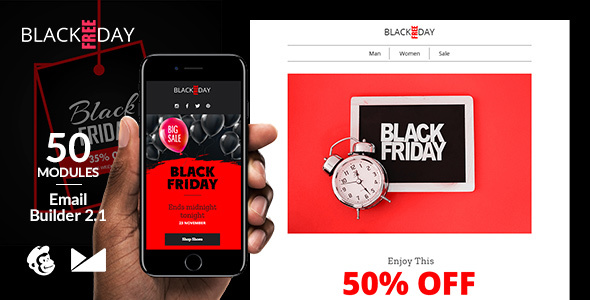 BlackFreeDay Email Template + Online Builder 2.1 - Catalogs Email Templates