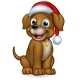 Pet Dog in Christmas Santa Claus Hat - GraphicRiver Item for Sale