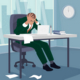 Businessman Grabbing His Head in Despair in Office - GraphicRiver Item for Sale