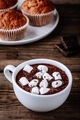 A cup of hot chocolate or cocoa with marshmallows on wooden background - PhotoDune Item for Sale