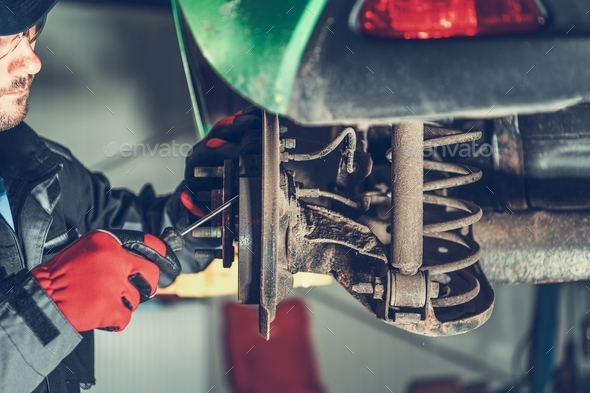 Servicing Car Brakes - Stock Photo - Images