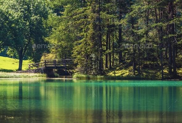 Scenic Turquoise Lake - Stock Photo - Images