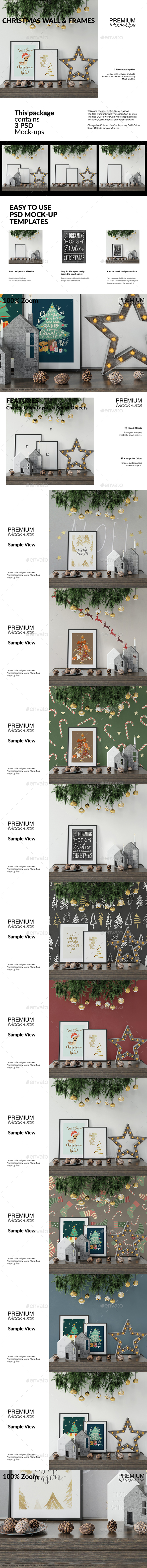 Christmas Frames & Wall Set - Print Product Mock-Ups