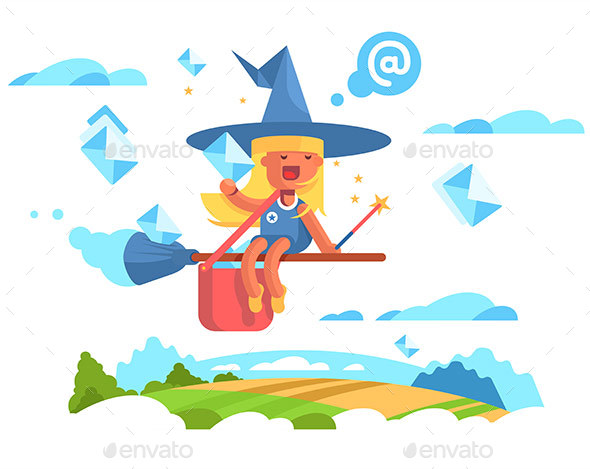 Postal Fairy Woman Flying on a Broom - Miscellaneous Vectors
