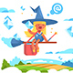 Postal Fairy Woman Flying on a Broom - GraphicRiver Item for Sale