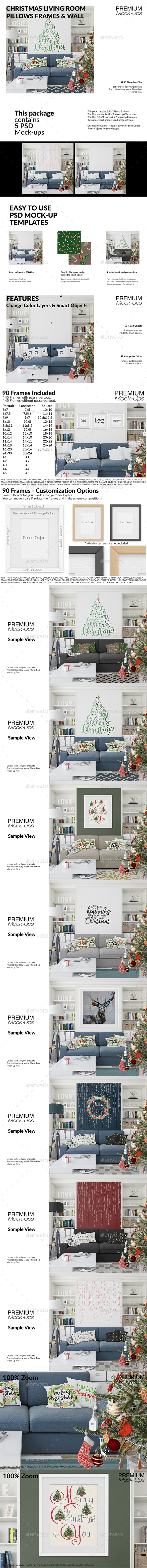 Christmas Living Room Set - Print Product Mock-Ups