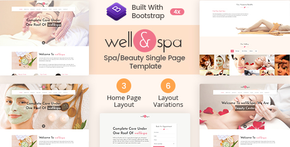 well&spa- Responsive Spa/Beauty Single Page  Template by mannatstudio