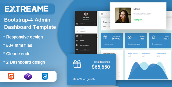 Extreame Bootstrap-4 Admin Dashboard Template