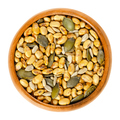 Snack mix. Soybeans, pumpkin and sunflower seeds in wooden bowl - PhotoDune Item for Sale