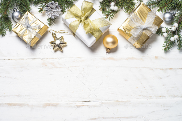 Christmas Background Images Gold.Christmas Background With Gold And Silver Decorations On White