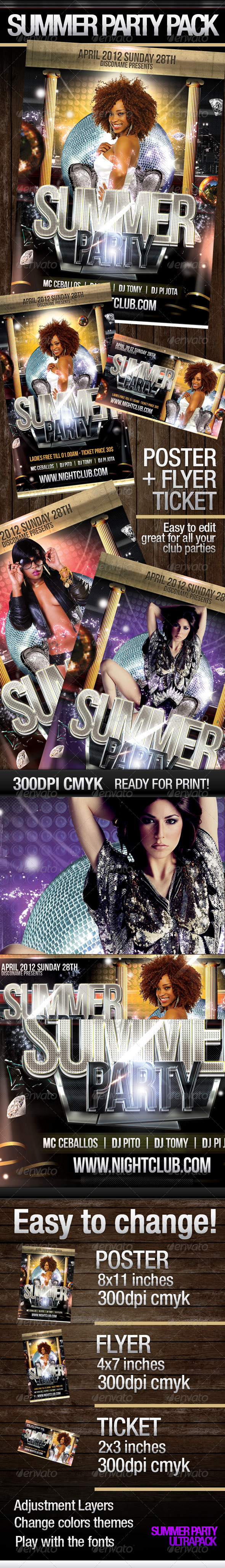Summer Party Pack  - Flyers Print Templates
