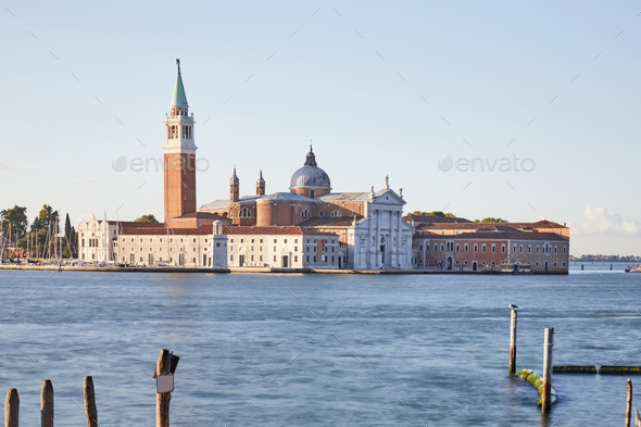 San Giorgio Maggiore island and basilica in Venice at sunset - Stock Photo - Images