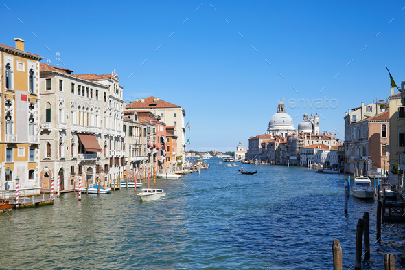 Grand Canal in Venice wide angle view with Saint Mary of Health in Italy - Stock Photo - Images
