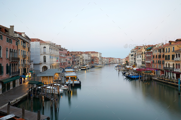 Grand Canal in Venice, clear sky in summer in Italy, nobody - Stock Photo - Images