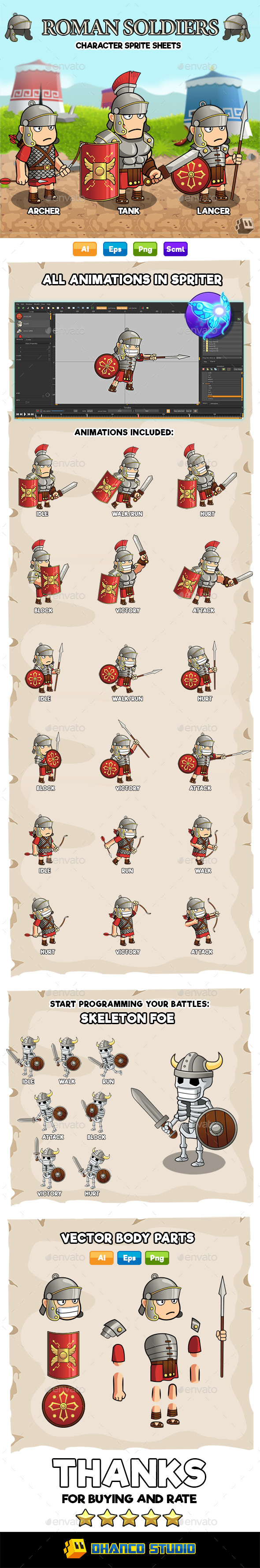 Roman Soldiers - Character Sprite Sheets - Sprites Game Assets
