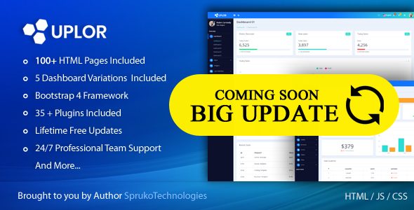 Uplor – Clean & Modern Admin Dashboard Bootstrap 4 HTML Template Free Download | Nulled
