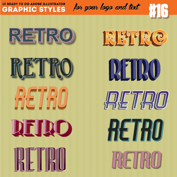 3D Vintage/Retro Text Style - Styles Illustrator