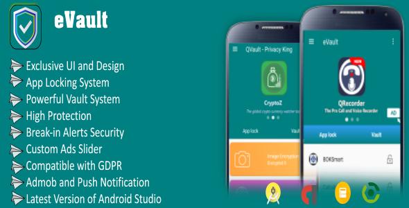 eVault - Hide Pics, Videos with AppLocker | Beautiful UI, Ads Slider, Admob, Push Notification - CodeCanyon Item for Sale