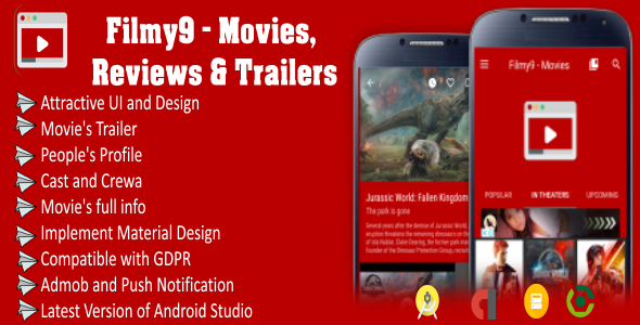 Filmy9 - Movies, Reviews & Trailers | Material Design | In-App Purchase | Admob Ads | Firebase Alert - CodeCanyon Item for Sale
