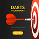 Realistic Detailed Dartboard with Darts Banner Card - GraphicRiver Item for Sale
