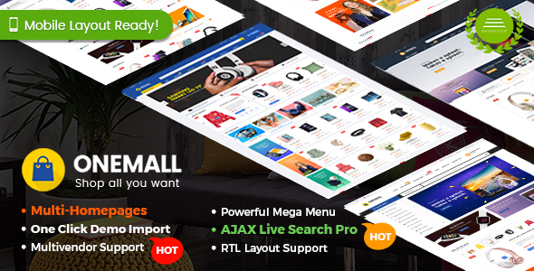 OneMall - Multipurpose eCommerce & MarketPlace WordPress Theme (Mobile Layouts Included)