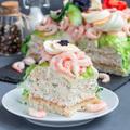 Piece of traditional savory swedish sandwich cake Smorgastorta w - PhotoDune Item for Sale