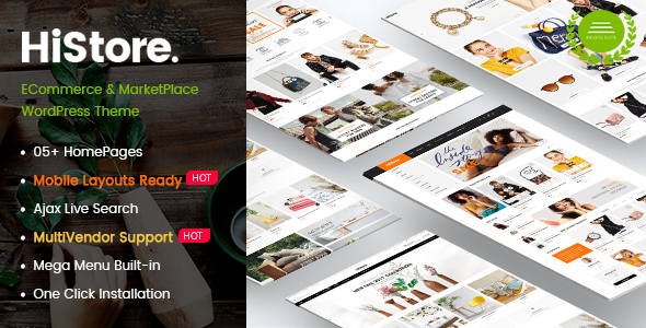 HiStore - Clean Fashion, Furniture eCommerce & MarketPlace WordPress Theme (Mobile Layouts Included) - WooCommerce eCommerce