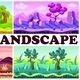 Flat Game Nature Design Backgrounds Set - GraphicRiver Item for Sale