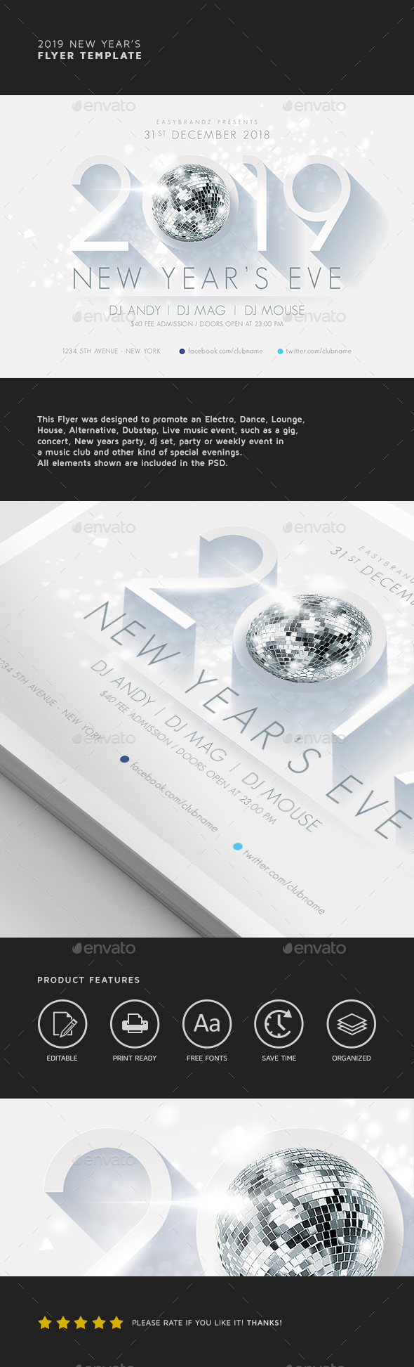 2019 New Year's Flyer Template - Holidays Events