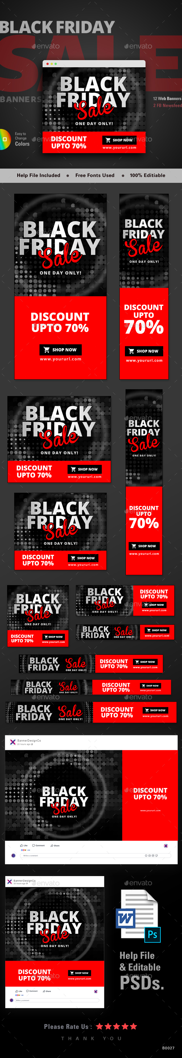 Black Friday Sale Web Banner Set - Banners & Ads Web Elements
