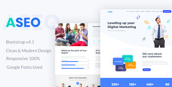 Aseo - Digital Marketing Landing Page - Site Templates