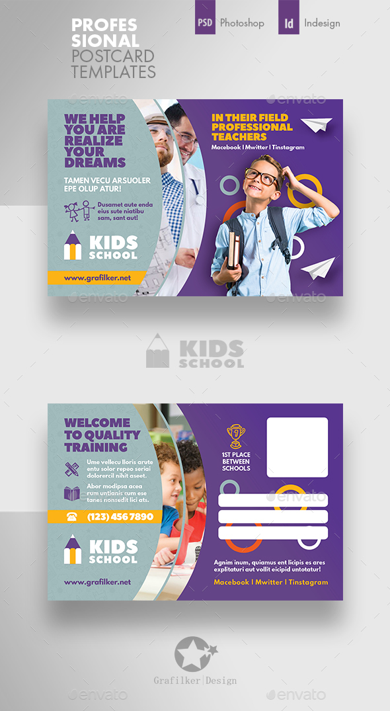 Kids School Postcard Templates - Cards & Invites Print Templates