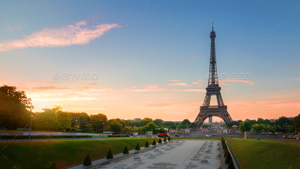Eiffel Tower and fountains - Stock Photo - Images