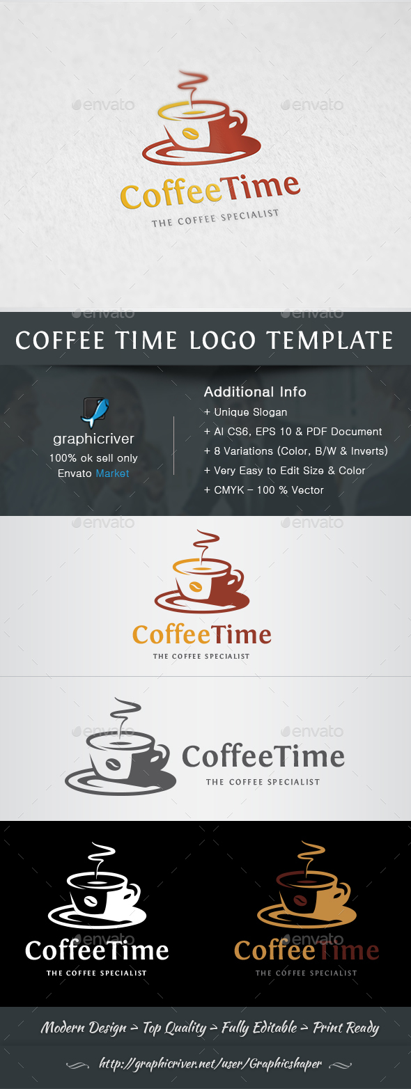 Coffee Time Logo - Food Logo Templates
