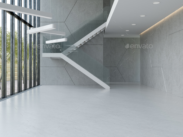 Interior of a lobby hotel reception 3D illustration - Stock Photo - Images