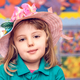 Cute little girl wearing pink wicker hat - PhotoDune Item for Sale
