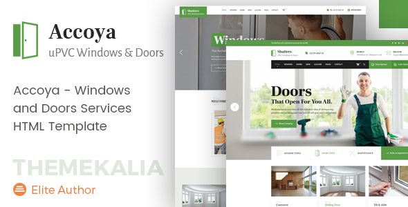 Accoya - Windows and Doors Services HTML Template Free Download | Nulled