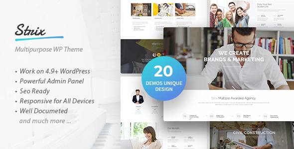 Strix - Multipurpose Business & Agency WordPress Theme Free Download | Nulled