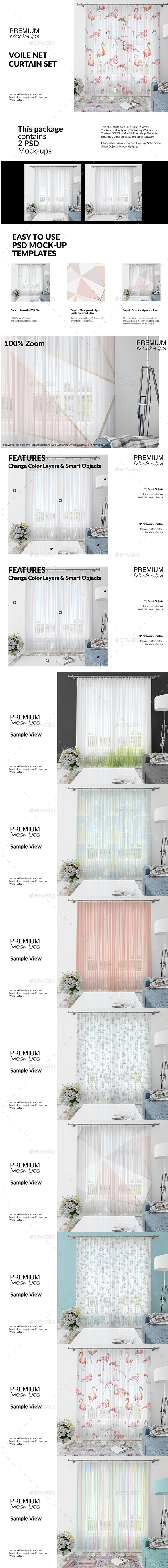 Voile Net Curtain Set - Print Product Mock-Ups